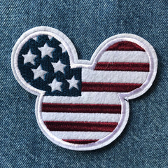 USA Flag Mickey- Embroidered Cloth Patch
