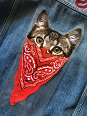 Bandanna Cat- Iron on Patch
