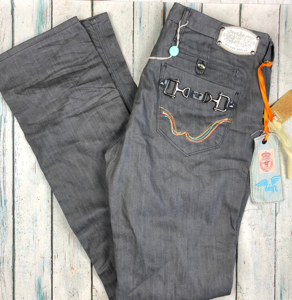 NWT - Replay Italy Charcoal 'Giusta'  Straight Denim Jeans RRP $593.00- Size 33/34