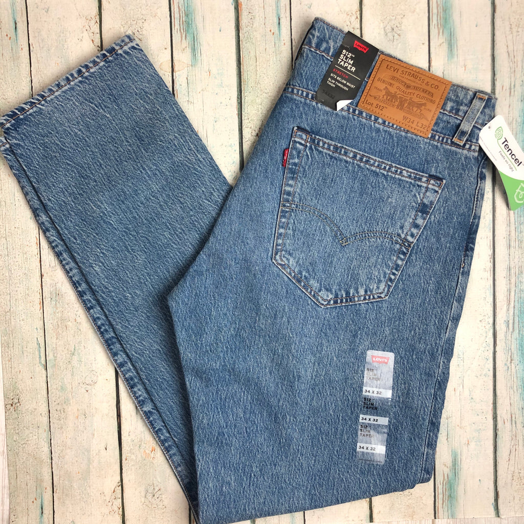 NWT - Levis 512 Slim Taper Busted Knee Denim Jeans  - Size 34/32