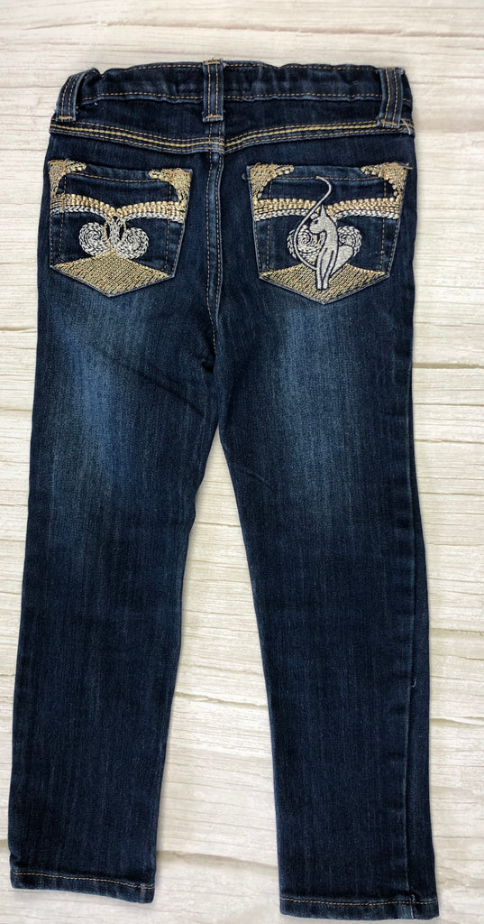 Baby Phat Girls Embroidered Logo Pocket Jeans - Size 4
