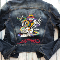 Ed Hardy NY Tattoo Print Ladies Denim Jacket - Size M