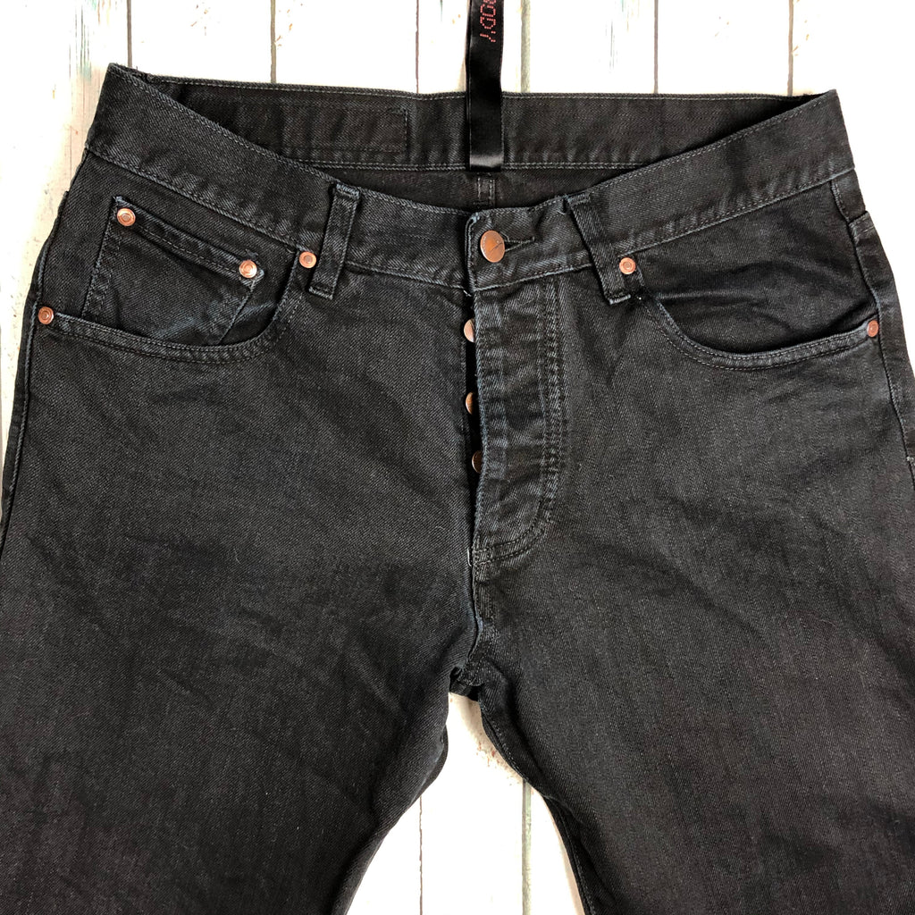NOBODY Black Tapered Leg Button Fly Mens Jeans - Size 32