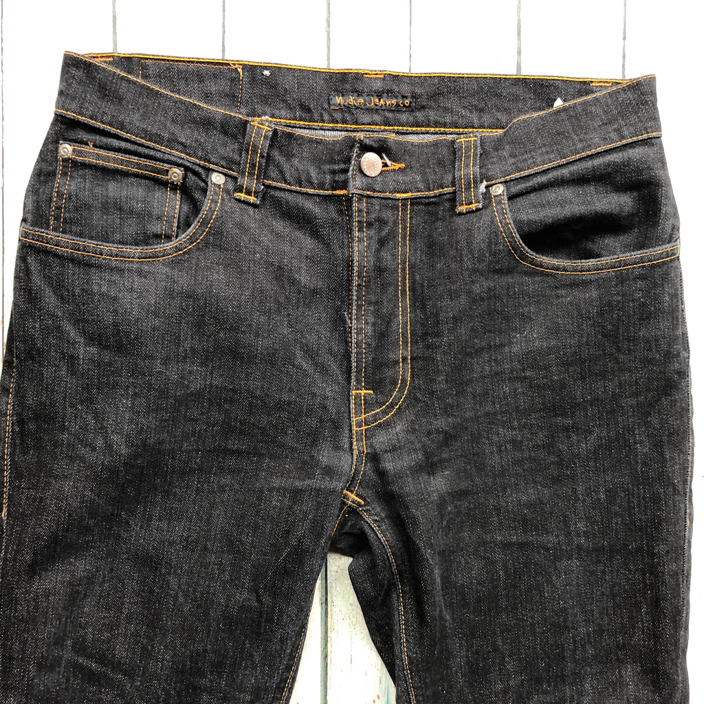Nudie Jeans Co. 'Thin Finn' Dry Black Jeans - Size 34/32