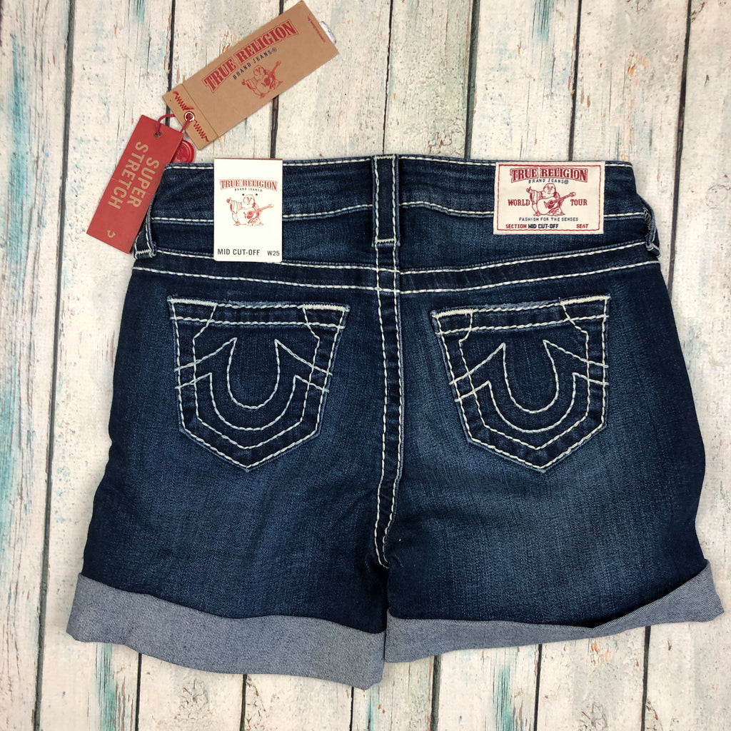 True Religion 'Big T' Mid Cut-Off Jean Shorts - Size 25