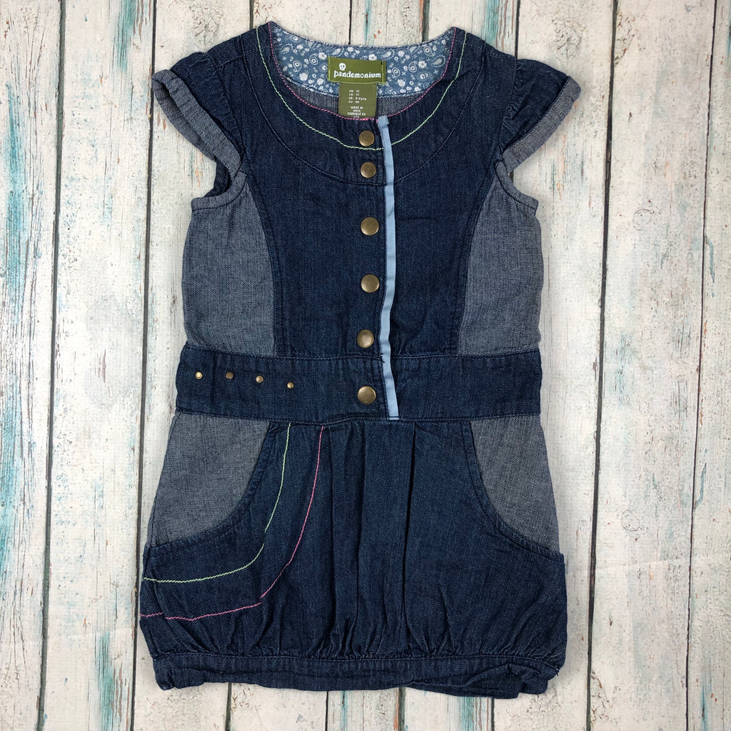 Pandemonium Toddler Patch Denim Dress - Size 2/3