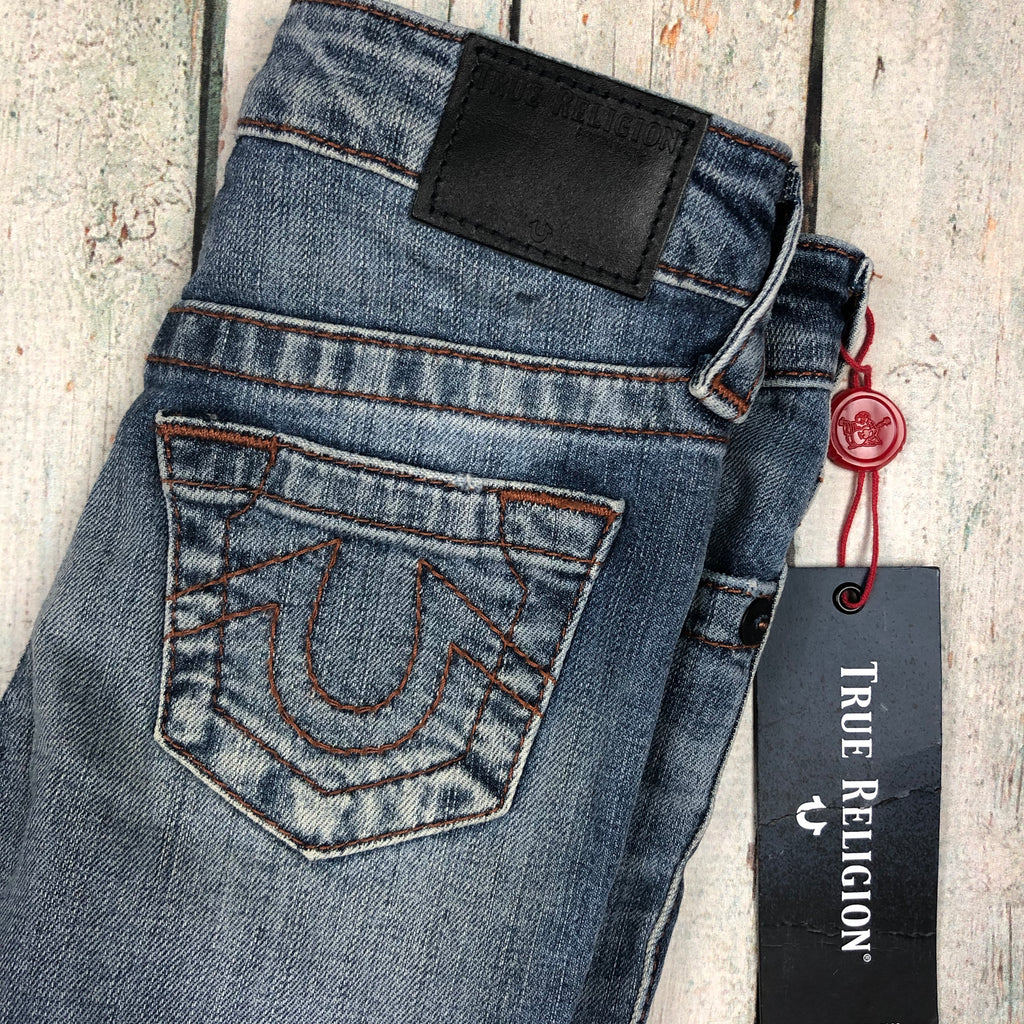 NWT - True Religion 'Geno Slim' Distressed Jeans- Size 4