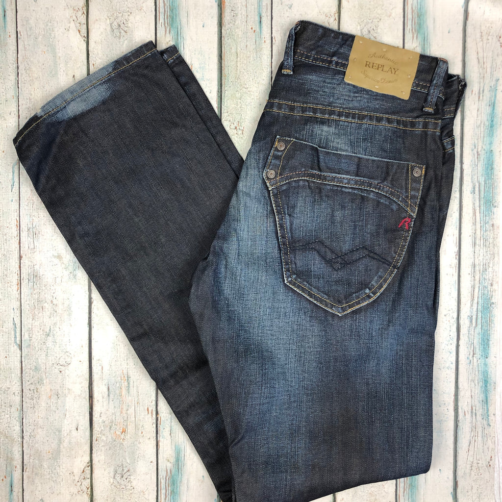 NWT - Replay Italy Mens Straight Indigo 11oz Denim Jeans RRP $329.00- Size 30/32-Jean Pool