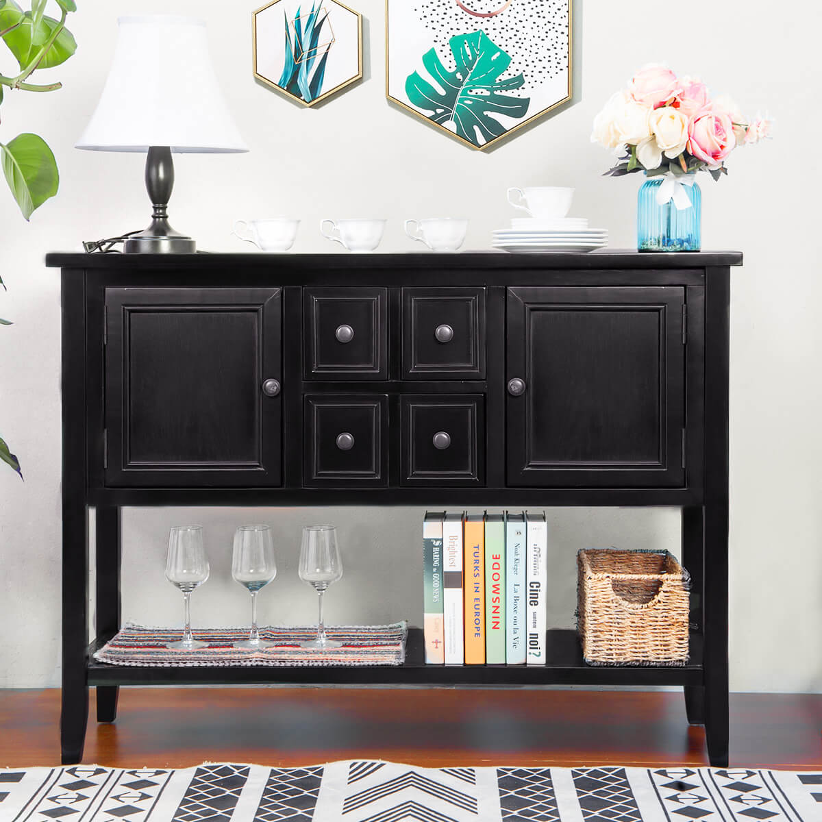 Console Table Buffet Table Sofa Table Sideboard With Four Storage Drawers  Two Cabinets And Bottom Shelf (Black)