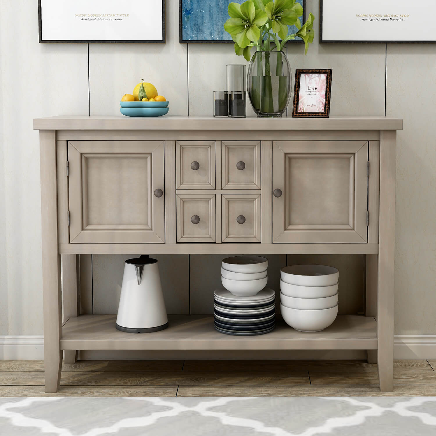 Cambridge Series Buffet Sideboard Console Table With Bottom ...