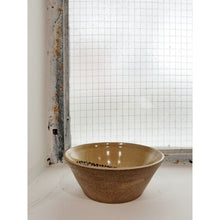 Load image into Gallery viewer, tan speckled bowl with black dot interior detail