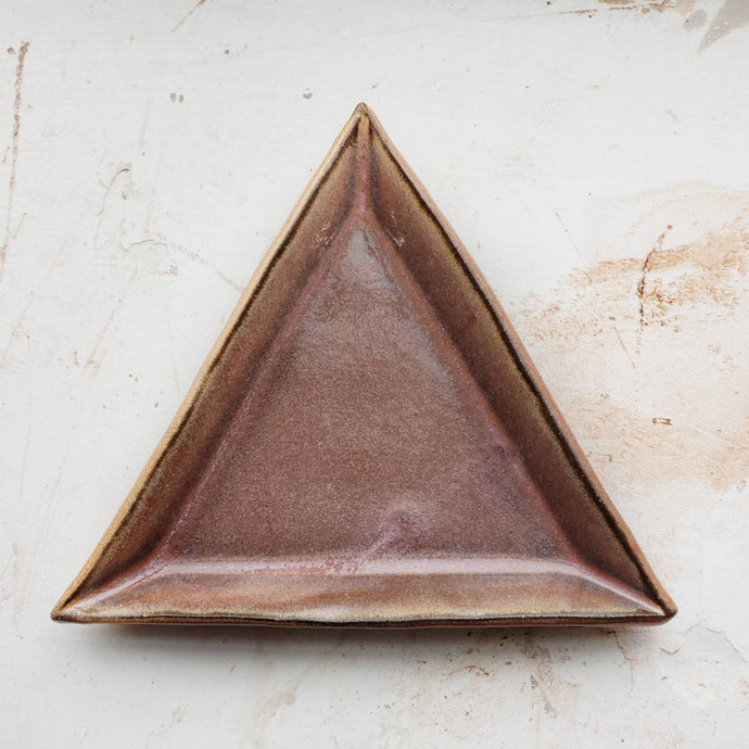 triangle tray/ring dish, dark brown clay with orange/pink glaze