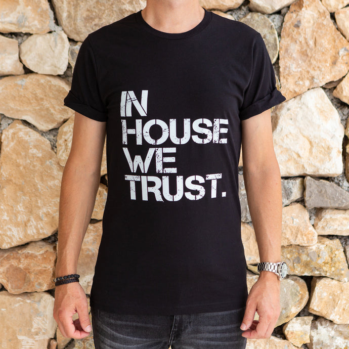 SR Mens In House We Trust Rolled Sleeve Tee - Black / Small