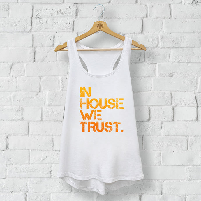 Womens Orange In House We Trust Racerback Vest