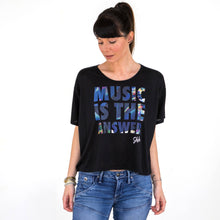 Womens Shhh Music Is The Answer Boxy Tee Black