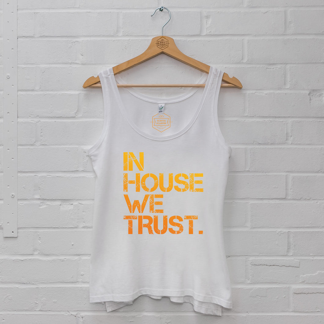 SR Womens Orange In House We Trust Vest Small 8-10