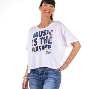 Womens Shhh Music is The Answer Boxy Tee White
