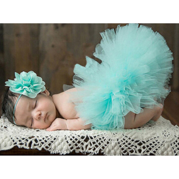 Newborn Tutu & Headband Set Photography Prop Aqua - Posh Kids Boutique Clothing