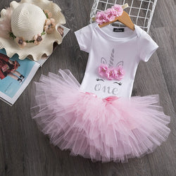First Birthday Flower Unicorn Pastel Tutu and Top Set - Posh Kids Boutique Clothing