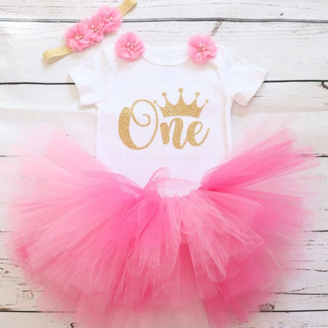 First Birthday Candy Pink Flowers Tutu and Top Set - Posh Kids Boutique Clothing