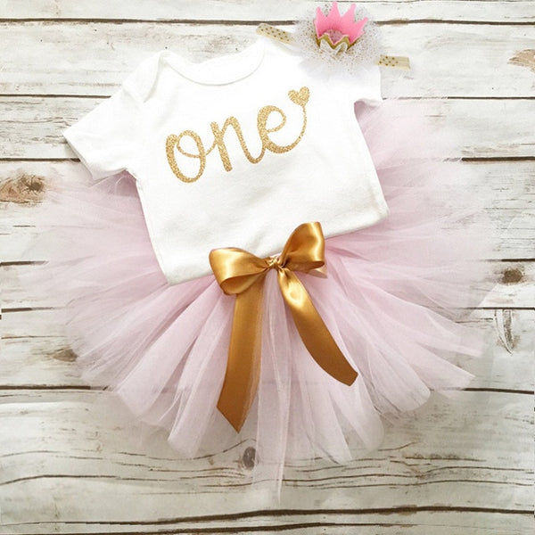 First Birthday Light Pink and Gold Tutu and Top Set - Posh Kids Boutique Clothing