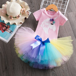 First Birthday Unicorn Pastel Rainbow Tutu and Top Set - Posh Kids Boutique Clothing