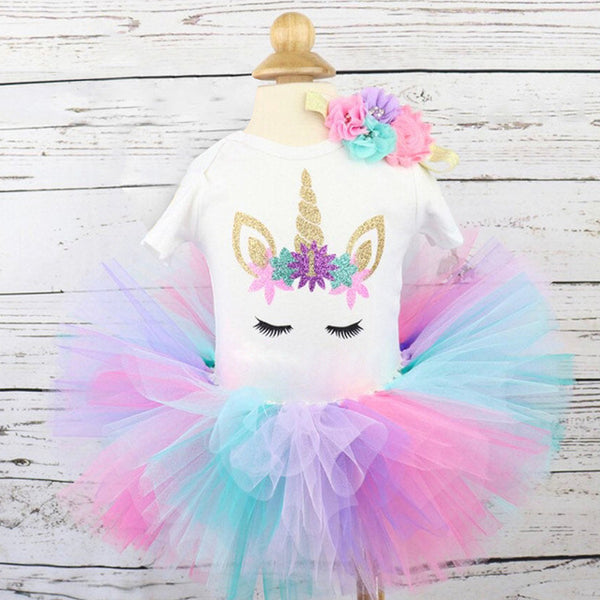 First Birthday Unicorn Bright Colors Tutu and Top Set - Posh Kids Boutique Clothing
