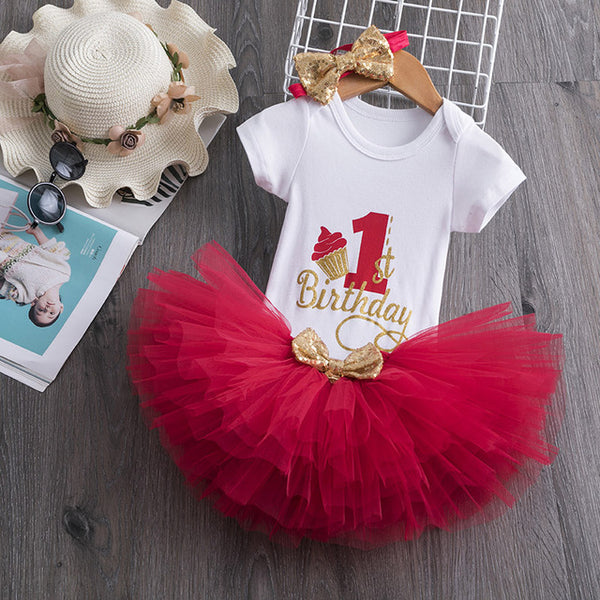 First Birthday Red Cupcake Tutu and Top Set - Posh Kids Boutique Clothing