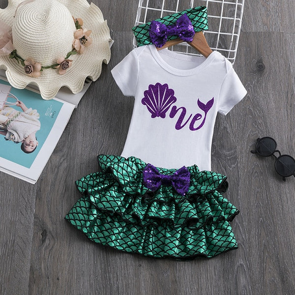First Birthday Mermaid Pettiskirt and Top Set - Posh Kids Boutique Clothing