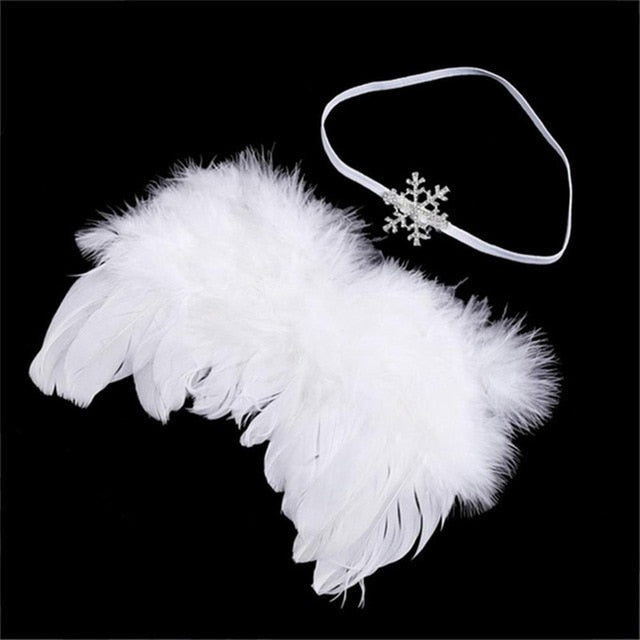 Handmade Feather Angel Wings Newborn Photography Prop - White Snowflake - Posh Kids Boutique Clothing