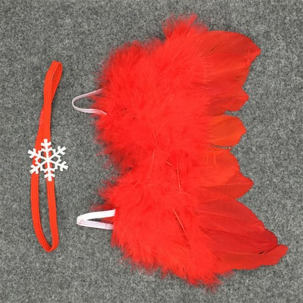 Handmade Feather Angel Wings Newborn Photography Prop - Red Snowflake - Posh Kids Boutique Clothing
