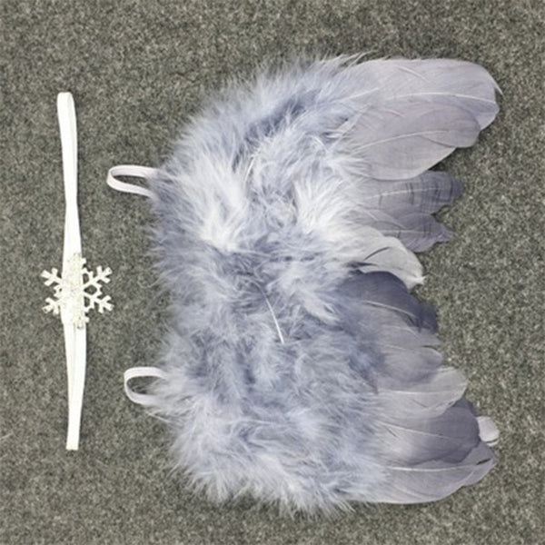 Handmade Feather Angel Wings Newborn Photography Prop - Grey Snowflake - Posh Kids Boutique Clothing