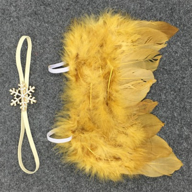 Handmade Feather Angel Wings Newborn Photography Prop - Golden Yellow Snowflake - Posh Kids Boutique Clothing