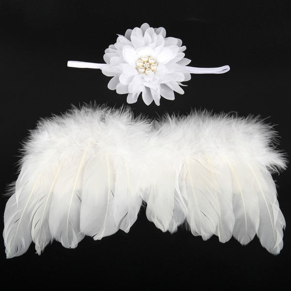 Handmade Feather Angel Wings Newborn Photography Prop - White Pearl Flower - Posh Kids Boutique Clothing