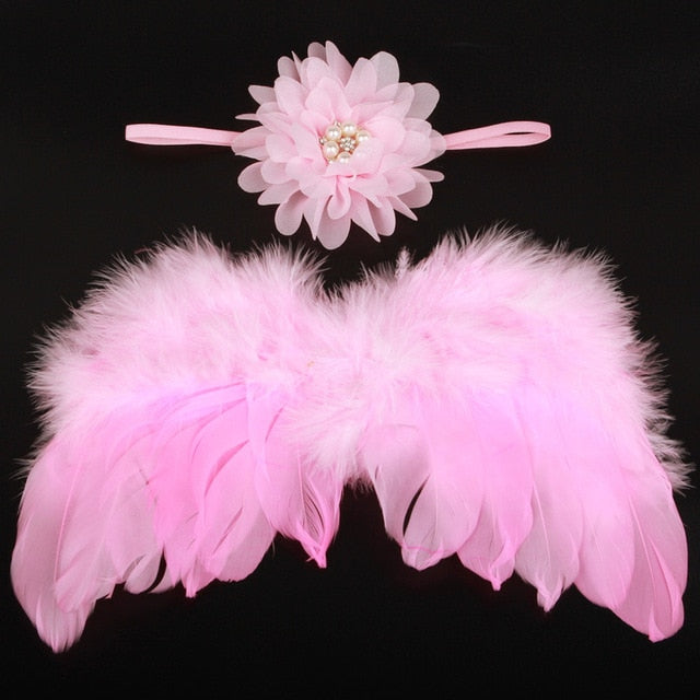 Handmade Feather Angel Wings Newborn Photography Prop - Pink Pearl Flower - Posh Kids Boutique Clothing