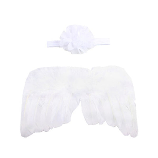 Handmade Feather Angel Wings Newborn Photography Prop - White Flower - Posh Kids Boutique Clothing