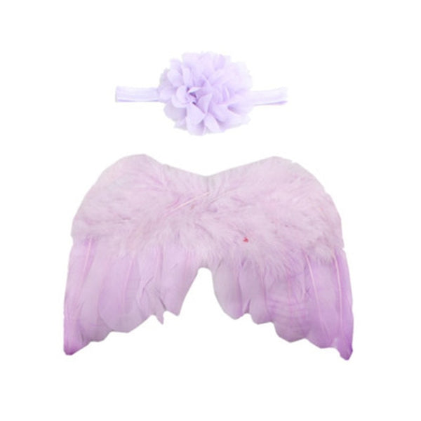 Handmade Feather Angel Wings Newborn Photography Prop - Lavender Flower - Posh Kids Boutique Clothing