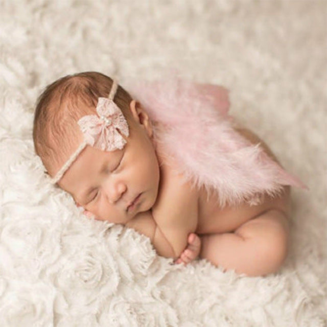 Handmade Feather Angel Wings Newborn Photography Prop - Powder Pink Bow - Posh Kids Boutique Clothing