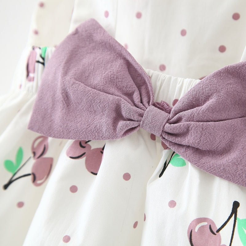 Lavender Cherries Toddler Summer Dress With Hat - Posh Kids Boutique Clothing