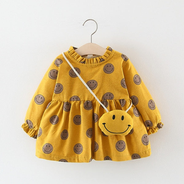 Adorable Autumn & Winter Baby Toddler Dress with Ruffle Collar in Yellow Happy Face - Posh Kids Boutique Clothing