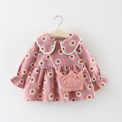 Adorable Autumn & Winter Baby Toddler Dress with Ruffle Collar in Pink Daisy - Posh Kids Boutique Clothing