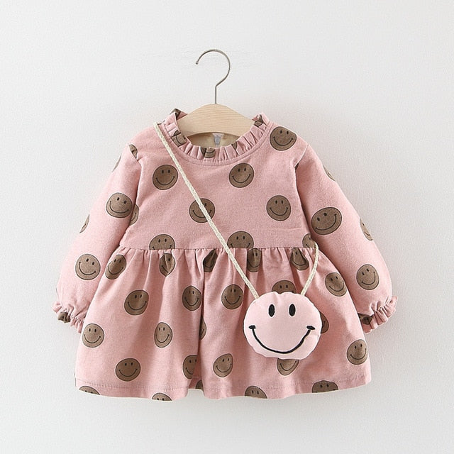 Adorable Autumn & Winter Baby Toddler Dress with Ruffle Collar in Pink Happy Face - Posh Kids Boutique Clothing