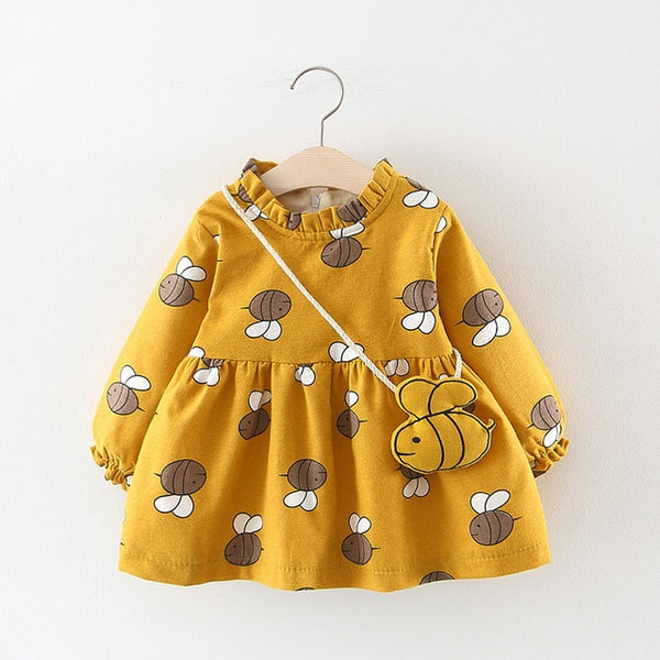 Adorable Autumn & Winter Baby Toddler Dress with Ruffle Collar in Yellow Bumble Bee - Posh Kids Boutique Clothing