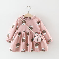 Adorable Autumn & Winter Baby Toddler Dress with Ruffle Collar in Pink Bumble Bee - Posh Kids Boutique Clothing