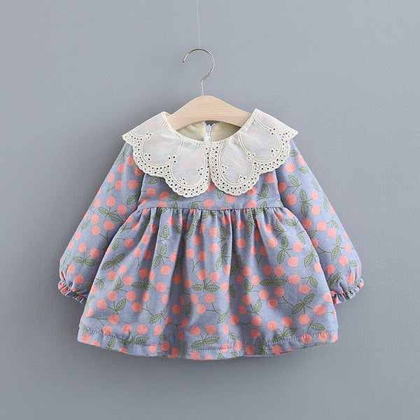 Adorable Autumn & Winter Baby Toddler Dress with Ruffle Collar in Pastel Cherry - Posh Kids Boutique Clothing