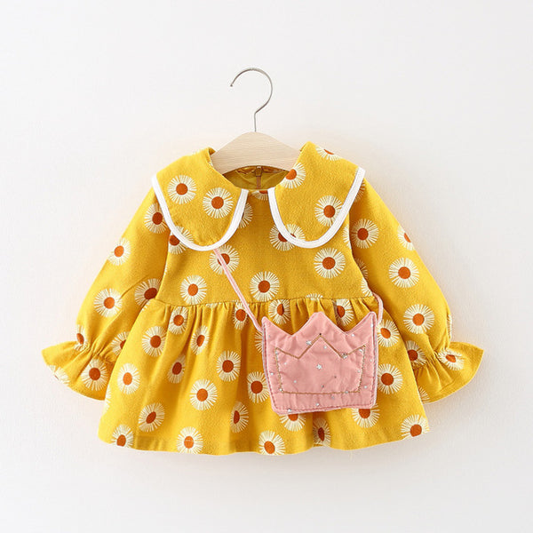 Adorable Autumn & Winter Baby Toddler Dress with Ruffle Collar in Yellow Daisy - Posh Kids Boutique Clothing