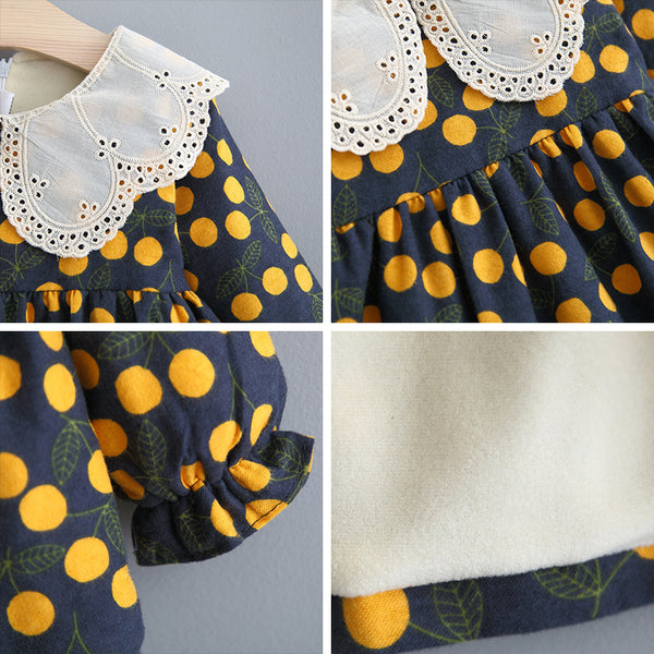 Adorable Autumn & Winter Baby Toddler Dress with Ruffle Collar in Yellow Cherry - Posh Kids Boutique Clothing
