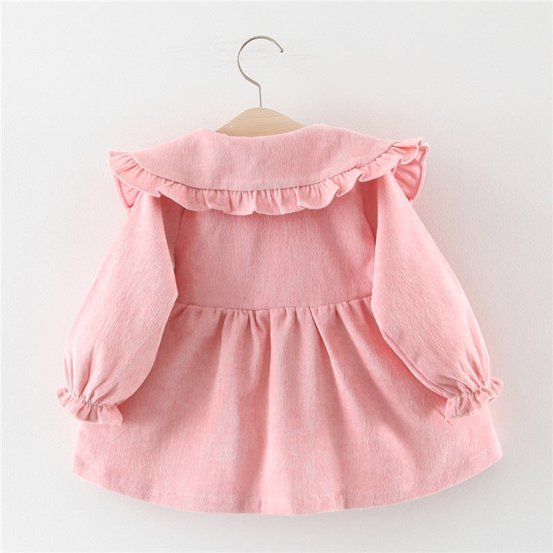 Adorable Autumn & Winter Baby Toddler Dress with Ruffle Collar in Vintage Lavender - Posh Kids Boutique Clothing