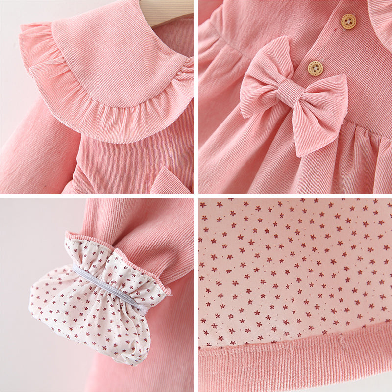 Adorable Autumn & Winter Baby Toddler Dress with Ruffle Collar in Light Pink - Posh Kids Boutique Clothing