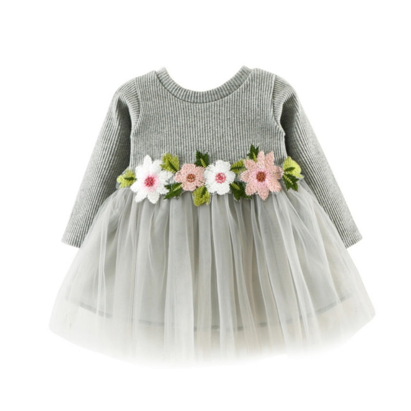 Autumn Baby & Toddler Girls Dress with Flowers Gray - Posh Kids Boutique Clothing